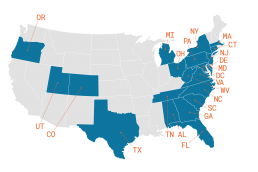 Map of United States with states Fulton research has worked in highlighted