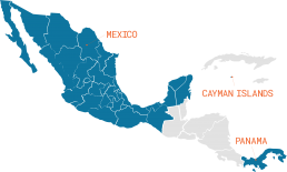 Map of Mexico, Central America, and Caribbean with Mexico, Cayman Islands, and Panama highlighted